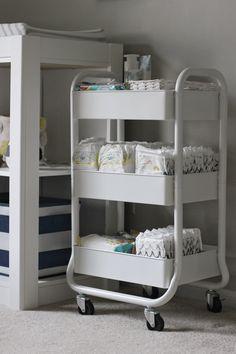 White Diaper Cart in Nursery / Nursery Organization