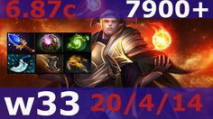 dota2 invoker #w33 7900 + MMR Top KDA - 20/4/14 Ranked game / patch 6.87 #refresher
