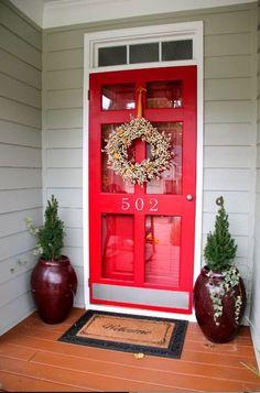 Vintage Red Storm Door With Clear Glass Screen Door Window Also Using Satin Door Slab
