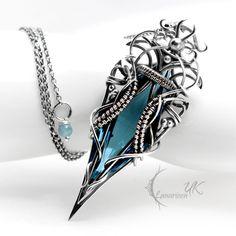 DHZARNH collier en argent, wire wrapping technique