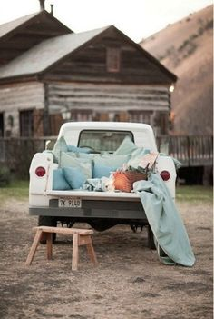 . Pick up truck picnic - Add a picnic to your glamping trip! Throw some pillows and blankets in the backseat for a cozy set-up and enjoy the outdoors underneath the stars.