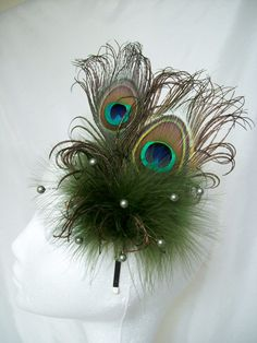 Olive Green Vitoriana Peacock Feather Fascinator By Gothic Diva Designs Specialising in Fabulous Elegant Gothic, Victorian Vintage & Steampunk inspired wedding designs,  Including mini hat fascinators, formal hats, feathered hair clips, ostrich & peacock