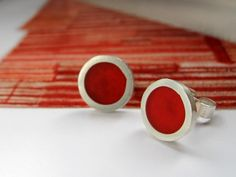 Scarlet Red Stud Earrings  Handmade Resin and by QuercusSilver, £35.00