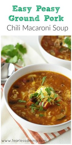 Super Easy, Family Pleasing Ground Pork Chili Macaroni Soup found at http://www.fearlessdining.com