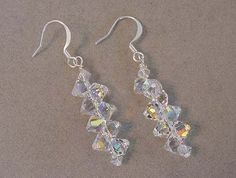 SWAROVSKI Top Drilled Crystal Earrings Crystal AB Swarovski Crystal Jewelry Earrings Choice of colors Bridal Jewelry Prom by Magicclosetbling on Etsy