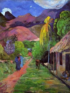 "Paul Gauguin - Rue de Tahiti, 1891. Oil on canvas. 115,5 × 88,5 cm (45.5"" x 34.8"") — en The Toledo Museum of Art."