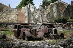 oradour-sur-glane - inhabitants dreadfully massacred by the SS in WWII. There's a museum at the entrance which leads out into the village left just as it was by the Germans. It is silent everywhere; not even the birds sing. One of the saddest & most moving places I know.A new village was built a couple of km away.