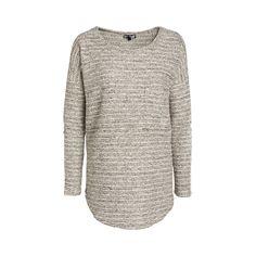 Stickad tröja med silverfärgad tråd och lång ärm. Rundad halsringning samt rundad nederkant. Längd 75 cm i storlek 38.