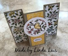 Stampin Up Free As A Bird Bundle is used to make this fun and easy hand stamped fun fold card stamp set. Card Making Templates, Card Making Tutorials, Fancy Fold Cards, Folded Cards, Beautiful Handmade Cards, Bird Cards, Paper Cards, Cool Cards, Homemade Cards