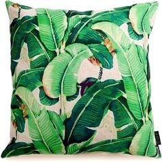 Banana Leaf Kussenhoes - Katoen/Linnen - 45 x 45 cm - Groen/Geel/Beige Beverly Hills, Plant Leaves, Dinosaur Stuffed Animal, Throw Pillows, Plants, Animals, Beige, Canvas, Tela