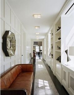 The detail on the walls makes a long hallway not so long. The detail on the walls makes a long hallway not so long. Built Ins, Gorgeous Bedrooms, Home, Built In Cabinets, House Design, Interior, Modern Leather Sofa, Long Hallway, House Interior