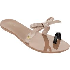 Melissa Constellation Bow Tan ($65) ❤ liked on Polyvore featuring shoes, tan shoes, melissa footwear, melissa shoes, bow shoes and strap shoes