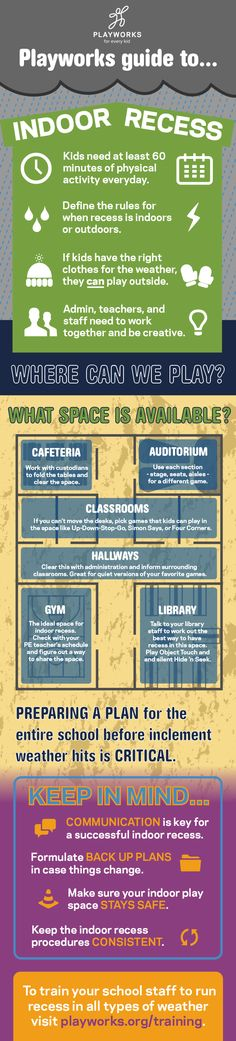 Looking for ways to make recess great even in inclement weather? Check out the Playworks Guide to Indoor Recess Infographic.