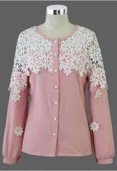 Pink Floral Crochet Shoulder Shirt
