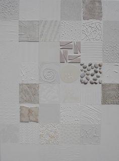 """""""A whiter shade of pale"""" Acryl op doek, 60 x 80 x 4 cm In ieder vakje een andere structuur www.tresjolique.nl/webshop"""
