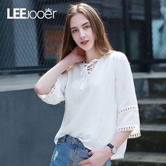 Leejooer 2017 camisa blusa mulheres moda meia manga oco out v neck mulheres sexy camisa branca mulheres blusas