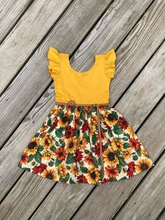 Mustard sunflower dress / fall floral dress / flutter sleeves | Etsy