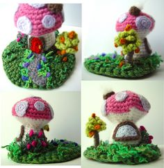 Crochet Mini Pink Mushroom House Sculpture more views | Flickr - Photo Sharing!