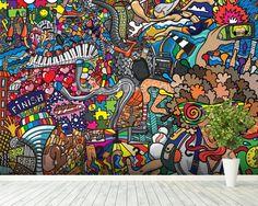 Sports - Graffiti wallpaper mural room setting