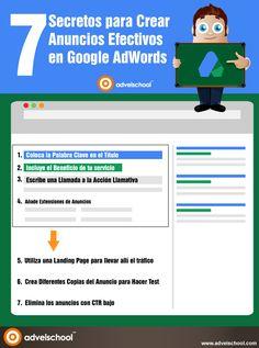 7 secretos para crear anuncios en Google Adwords #infografia #infographic #marketing