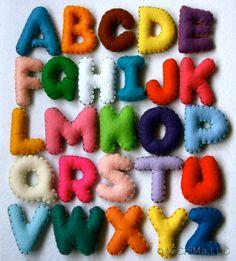 Stuffed Felt Alphabet Letter Set in a Reusable Drawstring Bag - Upper Case Set - As Seen in Martha Stewart Living Magazine May 2012 Issue. $45.00, via Etsy.
