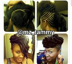 Flat twists updo on natural hair. #officiallynatural #naturalhair