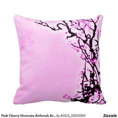 Pink Cherry blossoms Airbrush Art Throw Pillow