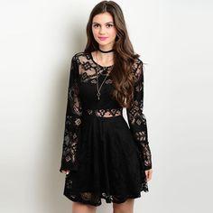 Shop the Trends Women's Long Sleeve Cutout Dress (Small-)