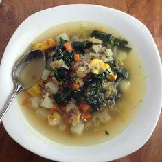 Potato and Quinoa Chowder with Winter Squash and Kale  ~Dana Treat Original