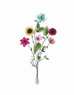 Aster Flower Tattoos, Colorful Flower Tattoo, Flower Tattoo Back, Flower Art, Cosmos Tattoo, Long Flowers, Tattoo Clothing, Agadir, Flower Doodles