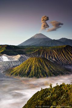 Mount Bromo (Gunung Bromo, in Bahasa Indonesia), is an active volcano and part of the Tengger massif, in East Java, Indonesia. At 2,329 metres (7,641 ft) it is not the highest peak of the massif, but is the most well known. The volcano belongs to the Bromo Tengger Semeru National Park. The name of Bromo derived from Javanese pronunciation of Brahma, the Hindu creator god.