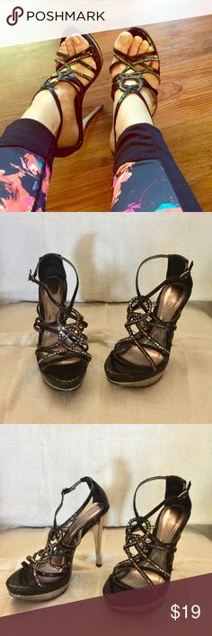 Aldo black leather strappy sandals heels Aldo black leather strappy sandals heels. In great condition. The platform makes them comfortable and sexy. Worn only a couple of times. Aldo Shoes Sandals