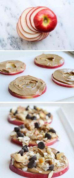 "Good Snack Ideas ♥ Easy Snack Foods ""Apple cookies make the perfect snack: Crisp juicy apple slices, smothered with nut butter, then topped with shredded coconut, walnuts and chocolate chips."""
