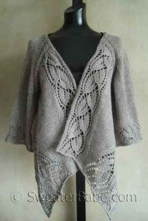 #112 Dramatic Lace Wrap (Top-Down) Cardigan PDF Knitting Pattern #knitting #SweaterBabe.com $8.00
