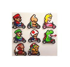 Mario Kart perler 8 bit perler bead art Mario Donkey by PerlPop