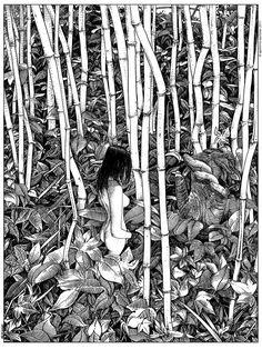 "apolloniasaintclair: ""Apollonia Saintclair 741 - 20170626 Le monument liminaire (The warning) "" Very impressive. Art Sketches, Art Drawings, Street Art, Tinta China, The Draw, Black And White Illustration, Erotic Art, Dark Art, Female Art"