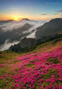 Nature Rainbow Gropsoarele Peak in Ciucas mountains Romania