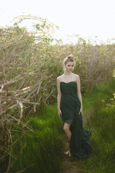Emerald Green Silk Dress Evening  Prom Sheer door elikadesigns