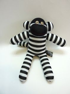 black & white sock monkey