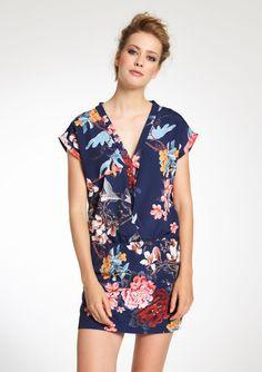 Kimono jurk met bloemenprint - NAVY DEEPWELL - 832946