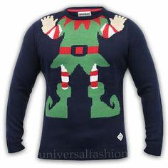 Mens Christmas Jumper Threadbare Knit Novelty Xmas Tree Elf Rudolph Pom Sweater | eBay