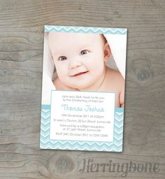 Baby boys Christening Invitation - Personalized