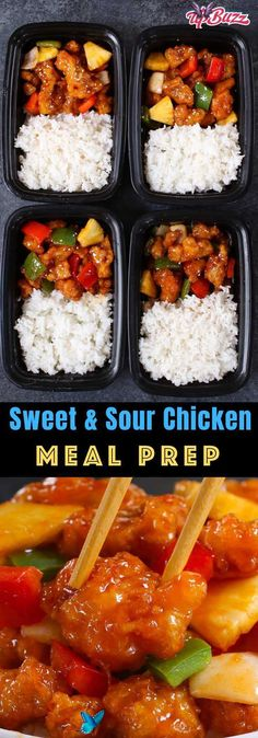 Sweet and Sour Chicken Meal Prep - TipBuzz This Sweet and Sour Chicken Meal Prep features crispy chicken, bell peppers, onions and pineapple in a sweet and sour sauce. It only takes 20 minutes to make irresistible lunches and dinners for the entire week! #SweetandSourChicken #ChickenMealPrep<br>