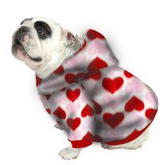 English Bulldog Hoodie Sweatshirt - Red & Pink Hearts