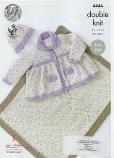 Baby KNITTING PATTERN Easy Knit Pinafore Dress Frill Cardigans /& Hat Chunky 4225