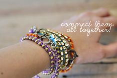 DIY wrap bracelets with long-short ball chain, rhinestones, and regular ball chain. #tutorial #diy