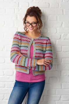 Crochet Cardigan Rainbow stripes and granny trebles make for a gorgeous cardigan. You'll find Fran Morgan's pattern in issue 54 of Simply Crochet. Simply Crochet, Love Crochet, Crochet Granny, Beautiful Crochet, Crochet Cardigan Pattern, Crochet Jacket, Crochet Shawl, Knit Crochet, Black Crochet Dress