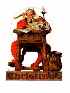 """Santa at His Desk"", December 21,1935  Norman Rockwell"