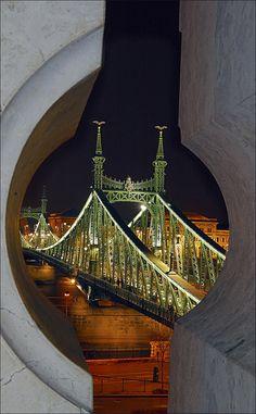 Liberty Bridge across the Danube River in Budapest, Hungary