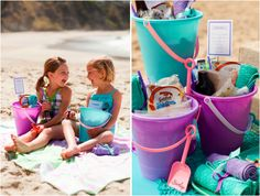 Beach fun - fill pail with snacks & drinks for each kid. Include sand toys. So cute, wait until at beach to surprise kids with pail of goodies!